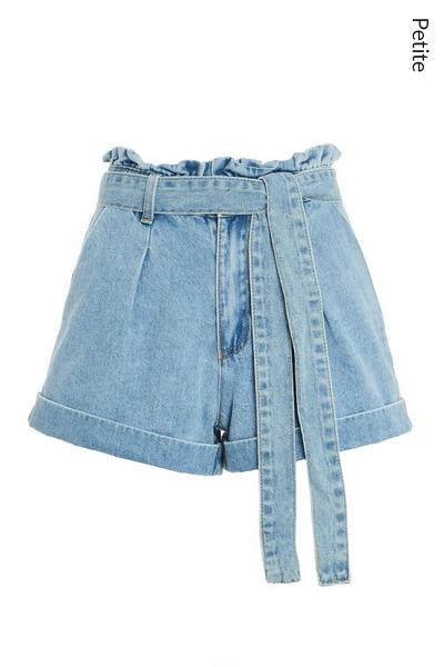 Petite Blue Denim Paperbag Shorts